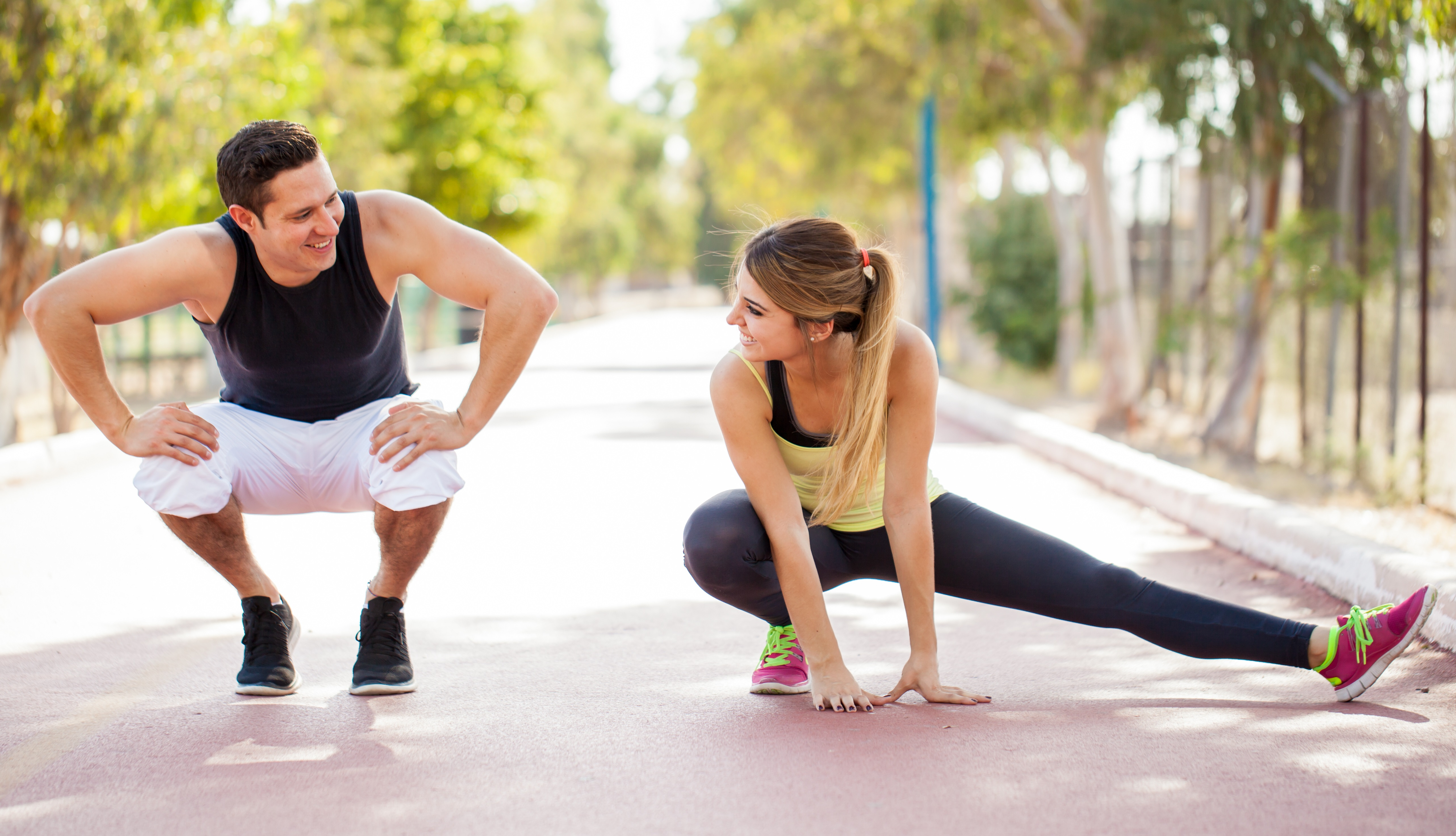 Working out together outdoors